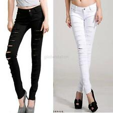 Popular Women Punk Hole ripped Slit Slim Skinny Pencil Pants Jeans Trousers