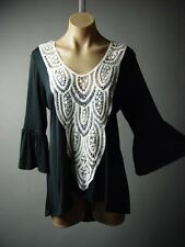 White Crochet Bell Sleeve Gypsy Boho Peasant Top 96 mv Blouse S M L XL 2XL 3XL