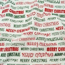 Merry Christmas Message 100% Cotton Fabric