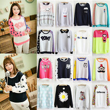 Korean Casual Women Sweater Print Loose Fleece Pullover Sweatshirt Hoodies Tops