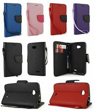 For LG Optimus L70 Leather Wallet Flip Protect Case Cover w/ Card Holder & Strap