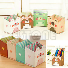Cute Cat Cartoon Paper Stationery Makeup Cosmetic Desk Organizer Storage Box DIY