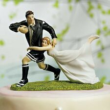 A Love Match Rugby Couple Funny Wedding Cake Topper WITH Custom Hair Colors