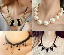 Fashion New White Pearl Gold Pendant Crystal Chain Jewelry  Necklace