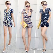 Lady Geometric Printed V-Neck Short Sleeve Casual Summer Jumpsuit Romper Overall