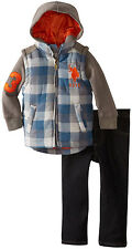 U.S. Polo Assn. Toddler Boys 2 Piece Quilted Knit Hoodie Jacket Denim Pants Set