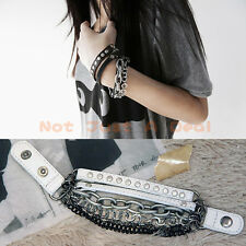 Fashion Multi-tier Gothic Punk Cool Leather Bangle Wristband Stud Chain Bracelet