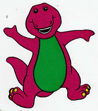 "5-8.5"" BARNEY THE DINOSAUR  WALL STICKER GLOSSY BORDER CHARACTER CUT OUT"