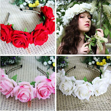 Handmade Floral Crown Rose Headband Flower Hair Garland Festival Wedding 1PC