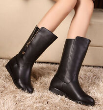 Womens Mid Calf Boots Flat Heels Black Faux Leather Zipper Adjust Shoes
