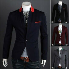 New Stylish Sexy Men Slim Fit Suit One Button Business Casual Blazer Coat Jacket