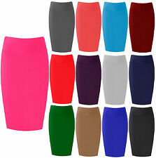Womens Midi Pencil Skirt Bodycon Stretch Jersey Tube Skirt Sizes 8-26 Plus