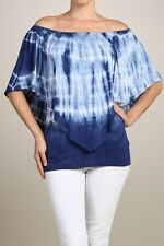 NEW Sing the Blues top tie dye layered convertible top open or one shoulder wear