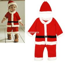 Children Christmas Santa Claus Style Costume Outfit Clothing Coat Apparel W3LE
