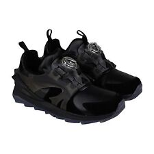 Puma Mens Disc Swift Tech Black  Leather Slip On Sneakers Shoes