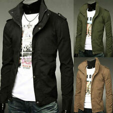 NEW Men's Slim Fit Stand Collar Military Parka Long Zip Button Jacket Coat Top
