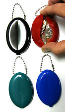 2 SOFT SPLIT RUBBER SQUEEZE OVAL COIN PURSE KEYCHAINS MENS MONEY HOLDER WALLET