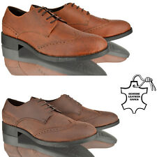 MENS LEATHER FORMAL CASUAL LACE BROGUES SMART OFFICE WORK PARTY TAN SHOES SIZE