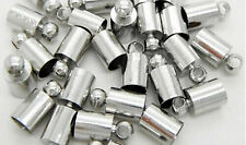20/100pcs Silver Plated Brass Barrel Cord End Caps 4mm/6mm Kumihimo Glue in