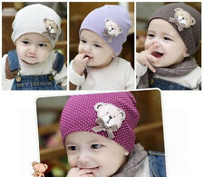 Hot New Cute Cotton Bear Baby Kids Girls Toddler Knitted Crochet Beanie Hat Cap