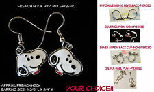 Artisan Small SNOOPY Beagle Dog **CHOOSE TYPE** Pierced OR Clip On Earrings