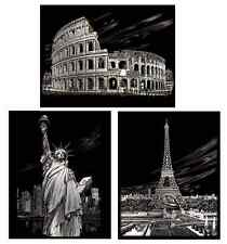 CHOICE OF 3 A4 SILVER ENGRAVING ART SCRAPER FOIL KITS NEW 2014/15 FAMOUS PLACES