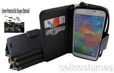 Black Flip Wallet PU Leather Pouch w/ Card Holder Case Cover for Various Phones
