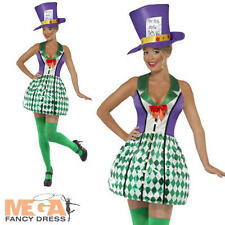 Mad Hatter Ladies Fancy Dress Alice in Wonderland Fairytale Womens Adult Costume