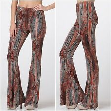 ROLLING STONE TERRA/CORAL FLARE BELL BOTTOM LOUNGE YOGA PANTS SMALL URBAN PEOPLE
