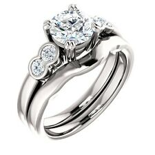 1.00ct 5 stone Moissanite & diamond 14K White Gold Halo Engagement Ring Set
