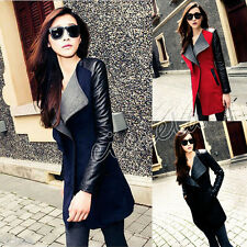 Autumn Womens WOOL Synthetic Leather Long Coat Jacket Trench Parka Outwear New