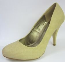 Spot On F9538 Ladies Snake Print Nude Court Shoes