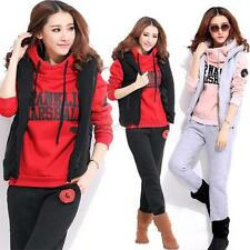 Casual Sports Hooded Hoodies Coat+Vest+Pants 3pcs Suit Tracksuit Womens Winter