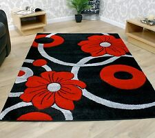 Black Grey and Red Circle Flowers Pattern Modern Style Rug 2 Sizes Large Room