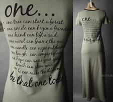 Inspiration Poem Message Text Graphic Print T-Shirt Long Maxi 48 mv Dress S M L