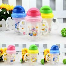 Baby Kids Straw Cup Drinking Bottle Sippy Cups With handles Cute Design