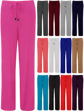 New Womens Plus Size Pyjamas Ladies Wide Drawstring Jersey Trousers Size UK 8-20