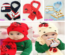 New Toddler Infant Boy Girl Baby Kid Warm Plush Beanie Hat Head Cap Scarf Sets