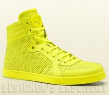 GUCCI Mens neon Yellow CODA perforated Leather GG High Top Sneakers NIB Authentc
