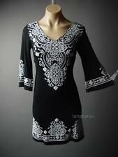 Black Ethnic Moroccan Design Gypsy Boho 70s Flare Sleeve 86 mv Dress S M L XL