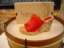 Born Dianna RED Leather Floral Print Wedge Sandals NEW
