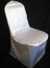 100 SATIN WEDDING BANQUET CHAIR COVERS White Ivory Black Silver Champagne