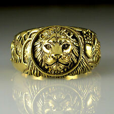 LION Brass Antique Gold Color Men's Wedding Giraffes Eagle Lion Ring M57