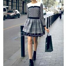 Fashion Women Long Sleeve Houndstooth Printed Patchwork Casual Mini Dress E0Xc