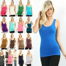 Women's Deep Scoop Neck Soft Stretchy Rayon Spandex Tank Top #RT-8352