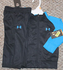 New! Boys UA Under Armour Track Outfit (Black/Blue;Jacket,Pants)- Size 24 mo