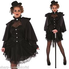 Ladies Black Victorian Widow Halloween Fancy Dress Costume Outfit 8-22 Plus Size