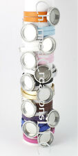 Assorted Color PU Leather Floating Charm Locket Bracelet 30mm Round Silver Tone