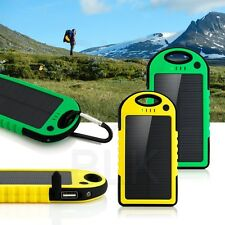 5000 mah Dual-USB Waterproof Solar Power Bank Battery Charger for Cell Phone USA