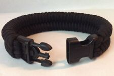 Police Black Tactical Wide Fishtail Paracord Bracelet w/ Handcuff Key Buckle